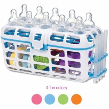 Munchkin Deluxe Dishwasher Basket 14301 - ASSORTMENT. The key to this design is that it keeps nipples and straws in an upright position throughout your dishwasher's cleaning cycles, allowing for a targeted water spray and more thorough sanitizing.  *Please join us (Albee Baby) on Facebook http://on.fb.me/1qElS1J Instagram http://instagram.com/albeebabydotcom and Twitter https://twitter.com/AlbeeBaby (no-spam zones!)