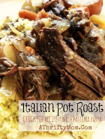 Italian Pot Roast with Pastina, made in the crock pot #CrockPot, #Beef, #Recipes