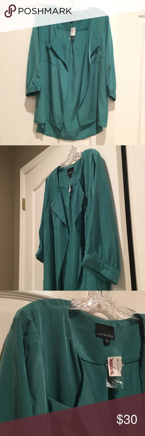 NWT Cynthia Rowley Open Front Blouse NWT but just has the TJ Max Tag and extra buttons. Color is a green/ teal. Cynthia Rowley Tops Blouses