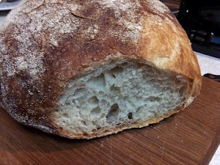 My loaf of no knead bread ... moist and very pretty