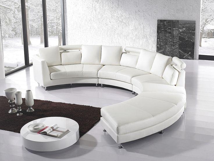 Ronde bank – Leren bank – Leren sofa – Lederen bank in wit – ROTUNDE