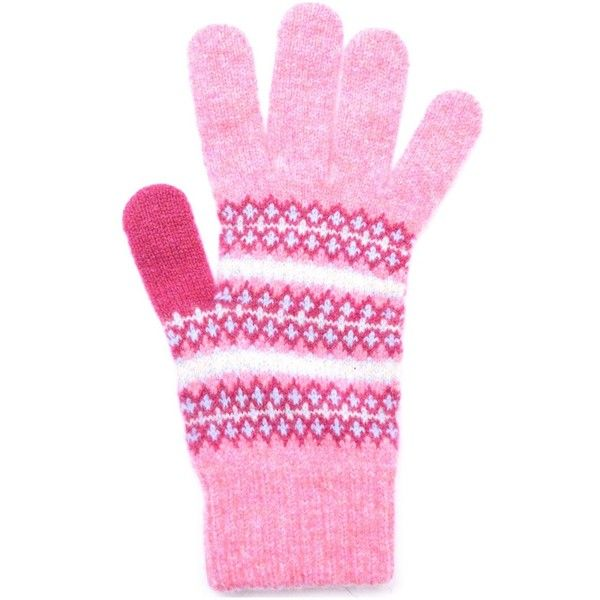 Women's Barbour Country Fairisle Gloves - Pink (39 CAD) ❤ liked on Polyvore featuring accessories, gloves, barbour, fair isle gloves, pink gloves and barbour gloves