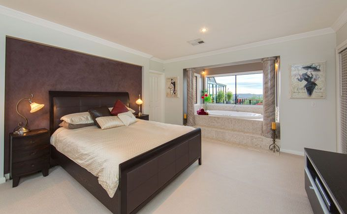 Luxuriously appointed Master Bedroom, with large oval spa | Lifestyle Property For Sale | Beechworth Vic, Australia