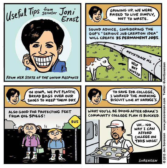 Cartoon: Useful tips from Joni Ernst | Daily Kos | Freshman Senator Joni Ernst's rebuttal to Obama's State of the Union address provided me with some much-needed comic relief after the turbulent news of the past few weeks. Of course, it's only funny until she starts doing the things she talked about.
