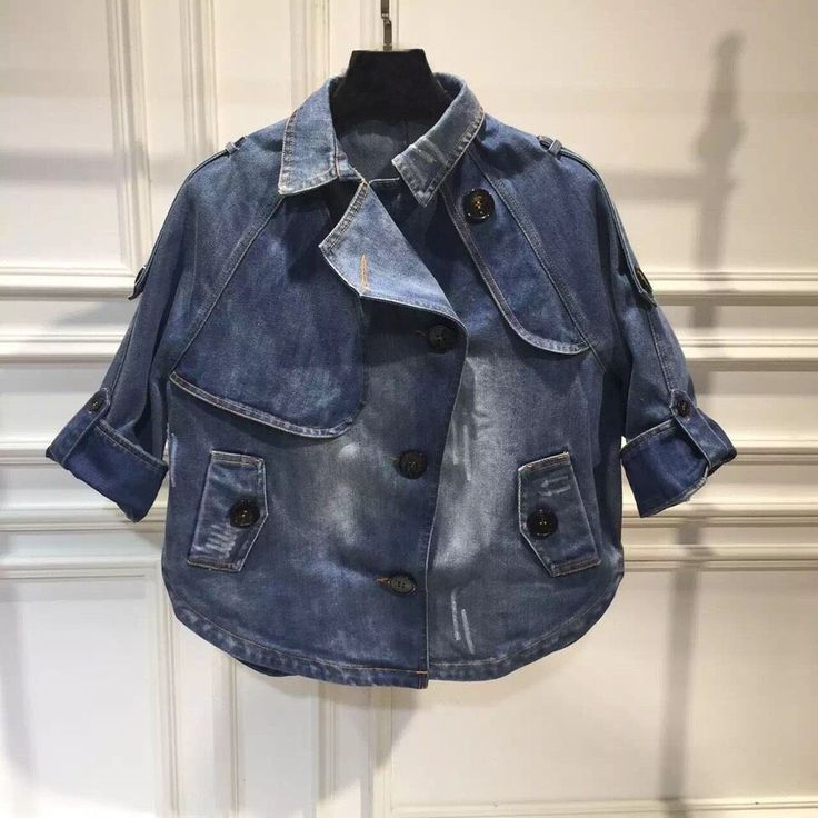 Вырезать Европа моды-2015 новые свободные джинсовые пиджак тонкий длинный рукав…