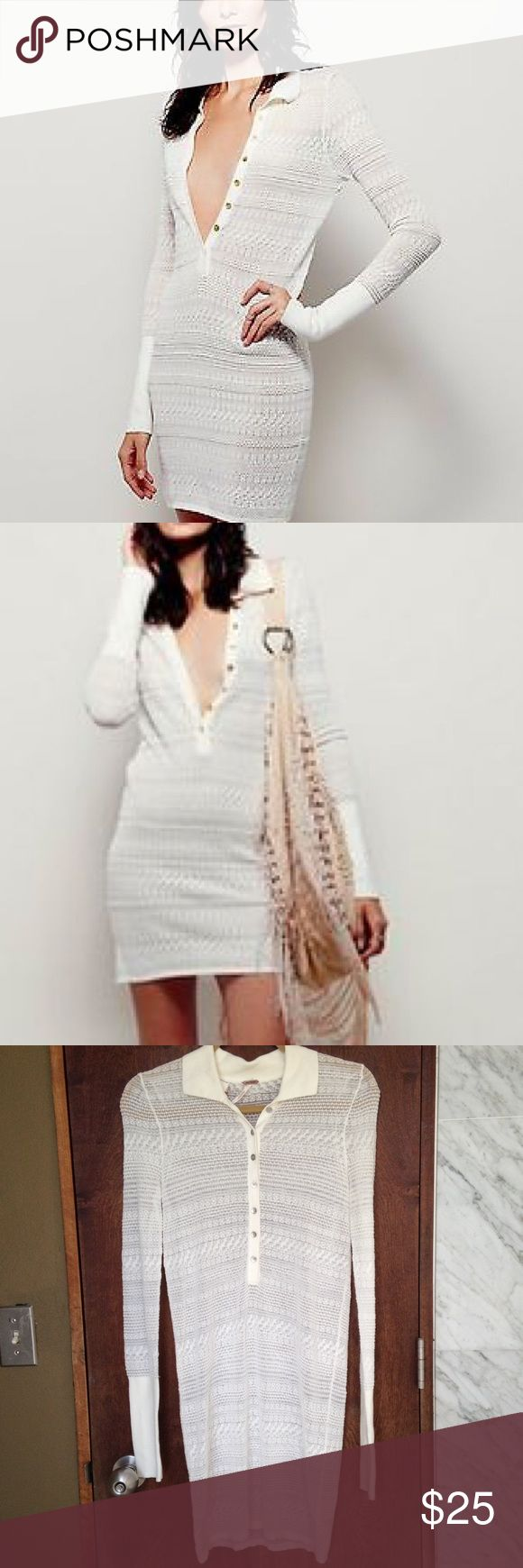 LAST CHANCE!! Free People Long Sleeve White Dress Great condition. Has a silver metallic sheen. It is a body-con dress. Has silver color buttons. Buy before it sell this week. FAST SHIPPING!!! Free People Dresses Long Sleeve