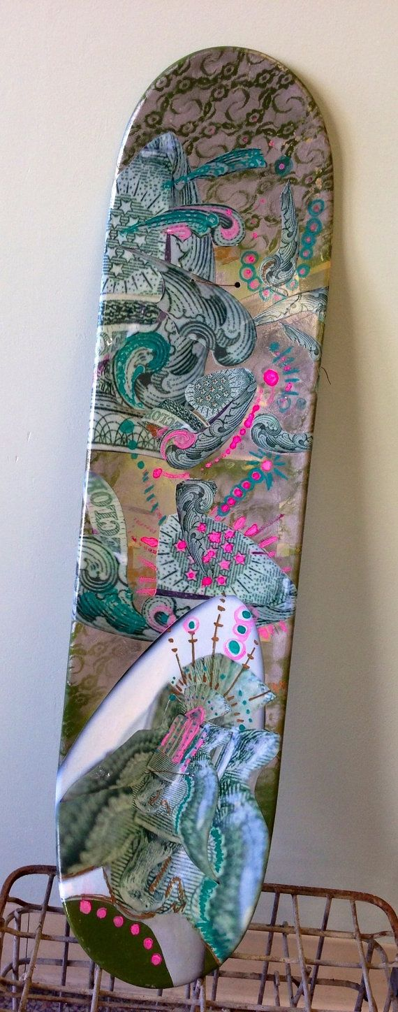 Handcrafted hand painted skateboard by Chicago artist Maurene Helen Cooper  Great graffiti money design  Other side of board is graffiti design