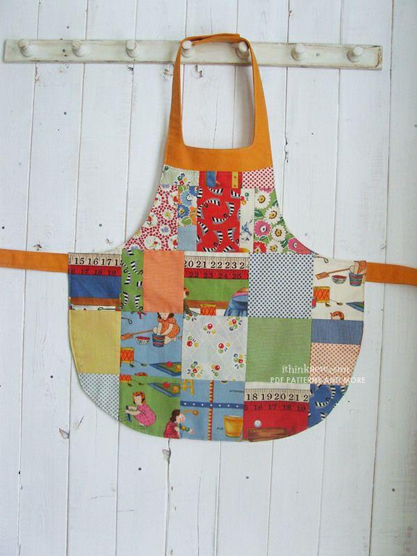 girl's apron pattern - FREE - ithinksew.com