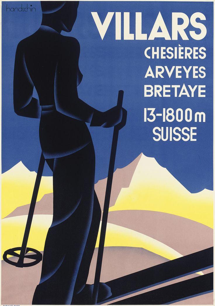 vintage ski poster - Villars, Switzerland