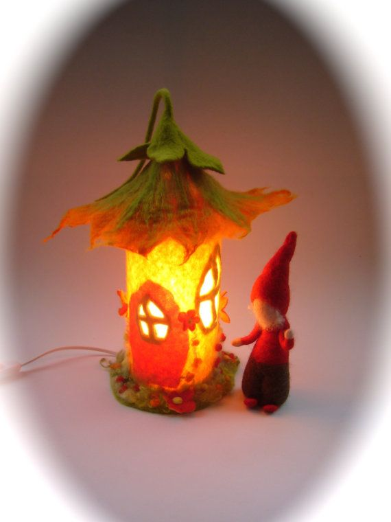 Table Lamp cover Autumn-house Wet Felted.Fairy by FilzArts