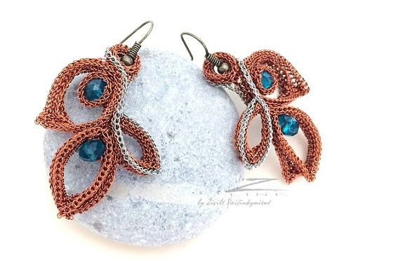 Unique Hand crocheted dangle earrings  blue crystals by ZetLine
