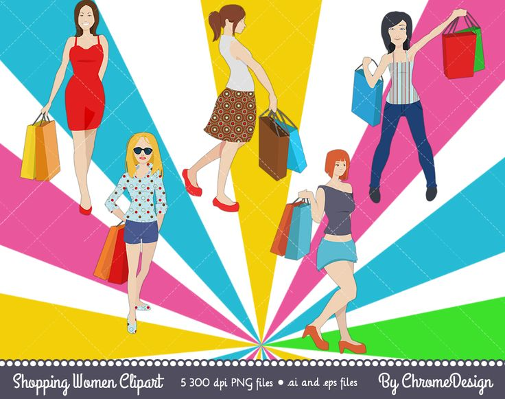 Shopping Women Clipart, Fashionable, Trendy Girl Clipart - Instant download!
