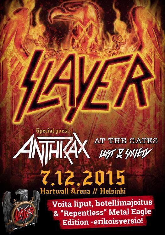 Voita uskomaton Slayer-paketti: 2 lippua Hartwall Arenan keikalle 7.12. + hotellimajoitus + LIMITED Slayer Metal Eagle Edition (tehty ainoastaan 3000 kpl ja painos on jo loppuunmyyty). Osallistu kisaan: https://secure.emp.fi/com_2913_participate/?wt_mc=sm.pin.fp.slayer-kilpailu.02112015