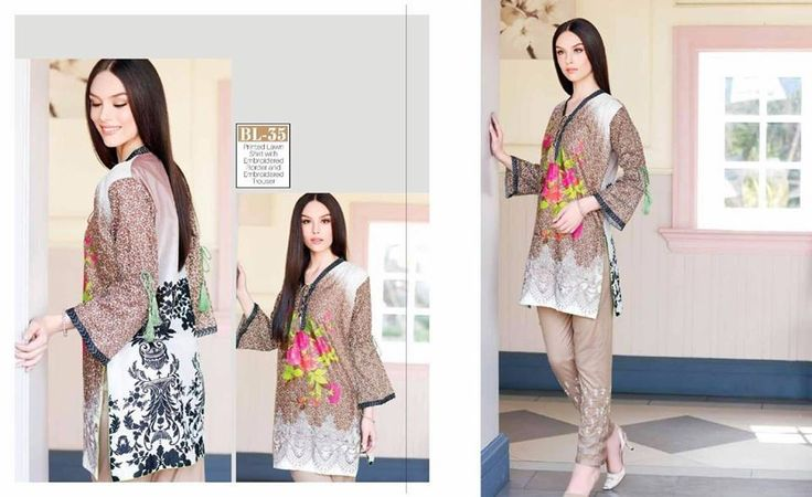 #Womens #Fashion #Pakistani #Designer #Suits #Haute #Couture for #work - #Brown #Shirt #Brown #Bottom #Embroidered #premium #lawn #Kurtis