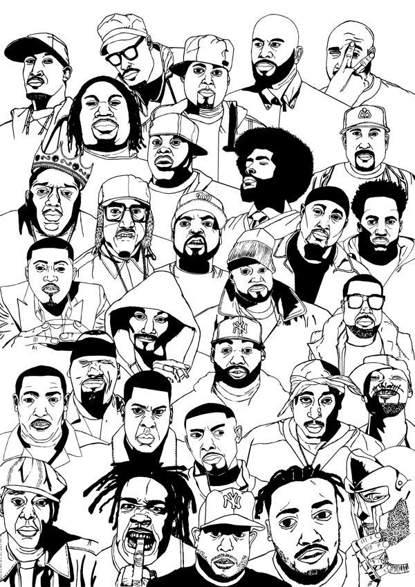 Poster with portraits of Hip Hop artists by Robin De Wachter, via Behance