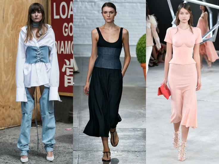 ELLE 2017 SPRING FASHION TRENDS WAIST-CINCHERS Surprised to see waist training makes its stylish debut on the runway? Us too.    Left to Right: Misbhv, Tibi, Sally LaPointe