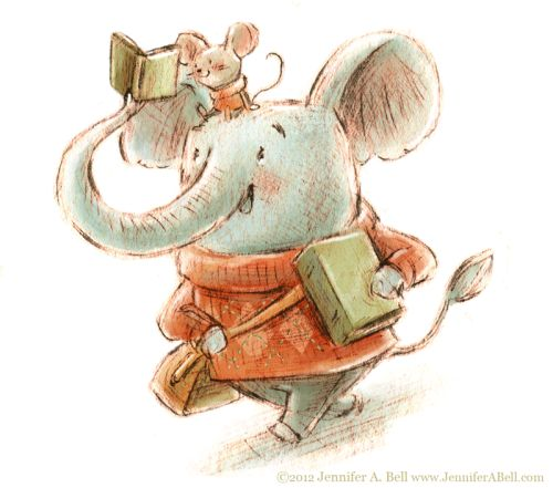 Reading, reading, reading… Illustration by Jennifer A. Bell