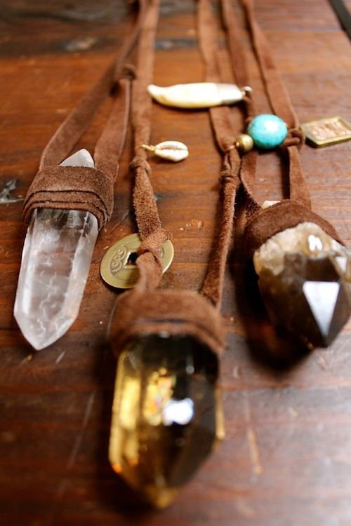 Boho Crystal Pendant Necklaces | Bohemian Jewelry  These would be simple to make with some leather or suede lacing, raw crystals and other ornamentals or your choosing and a hot glue gun or heavy duty glue of some type (preferably eco friendly).