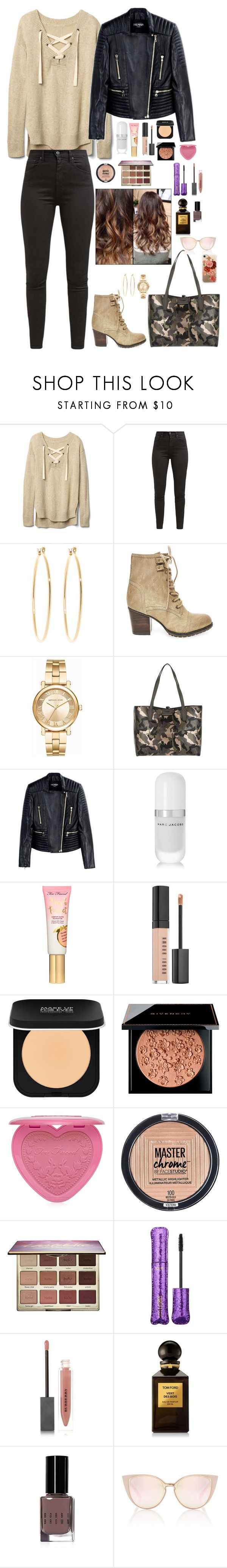 """Untitled #2081"" by azra-99 on Polyvore featuring Gap, Levi's, Brooks Brothers, Steve Madden, Michael Kors, GUESS, Balmain, Marc Jacobs, Bobbi Brown Cosmetics and MAKE UP FOR EVER"