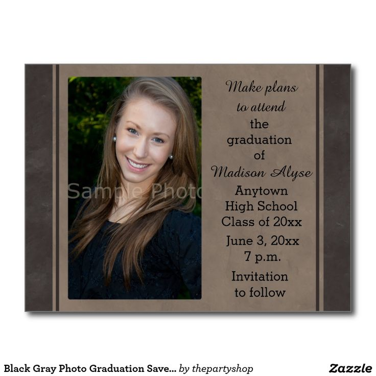 Shop Black Gray Photo Graduation Save the