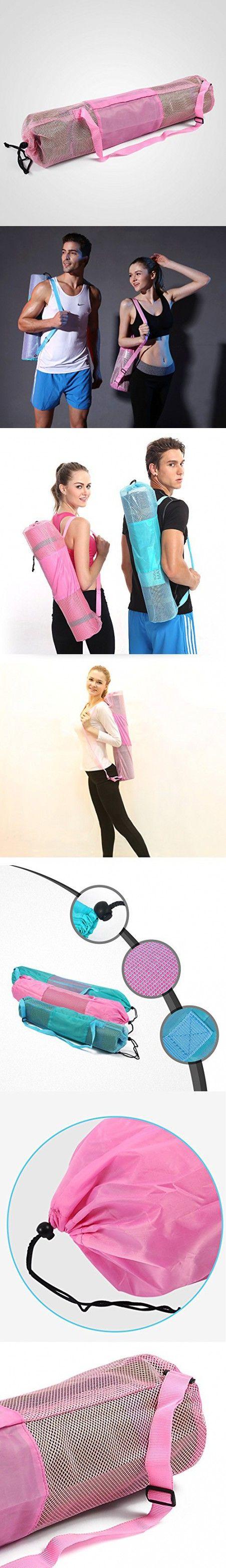 Multiple Size Nylon Yoga Mat Bag Adjustable Portable Mesh Center Pilates Mat Bag Fitness Carrier for Yoga (Pink, S)