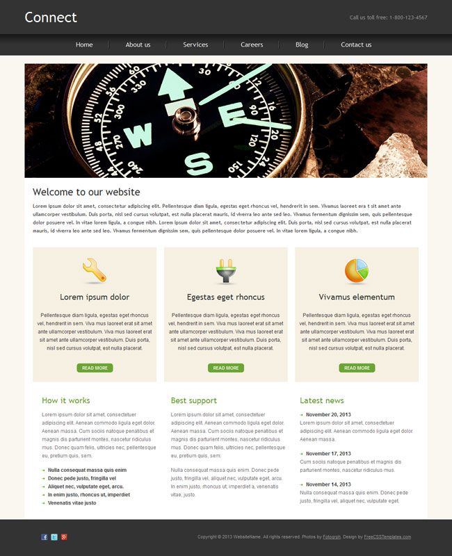 48 best free business html templates images on pinterest design connect is a free business html website template suitable for many types of websites cheaphphosting Image collections