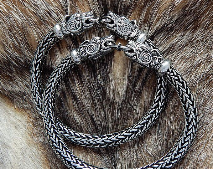 Personalized with 40 Characters Bear Head Viking Bangle Bracelet Design Sterling Silver and Leather Bear Bracelet for Men or Women