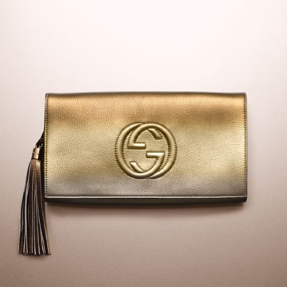 When the evening calls for high-octane glamour, answer with the gilded Soho clutch.
