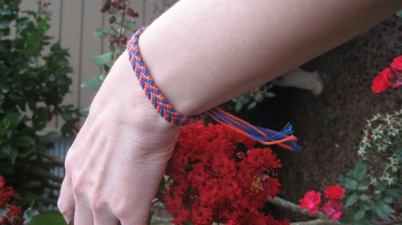 Navy Blue and Orange Chevron Friendship Bracelet by SaxophoneChick, $4.00