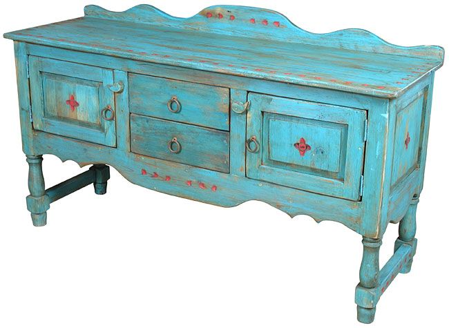 Turquoise Blue Santa Fe Style Buffet or Entertainment Console >> WOW! I am in love with this website. My kitchen would really love to have this in it!