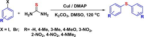 Biaryl thioether synthesis via CuI catalyzed dominothiolation of aryl halides in the presence of DMAP as ligand