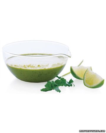 CILANTRO LIME SALAD DRESSING: Tofu, not mayonnaise, gives this dressing a silky texture without the extra saturated fat. The cilantro-lime flavor makes it a perfect accompaniment for Latin-inspired dishes such as fish or chicken tacos; simply add shredded cabbage or radishes on top.
