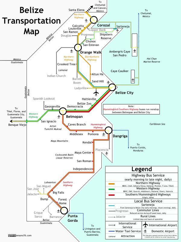 Belize Transit Map