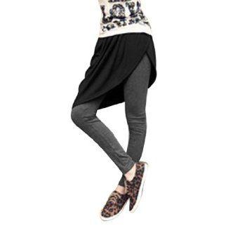 Allegra K Ladies Fake Two Pieces Asymmetric Hem Patchwork Capris Pants Gray XS Allegra K. $11.62