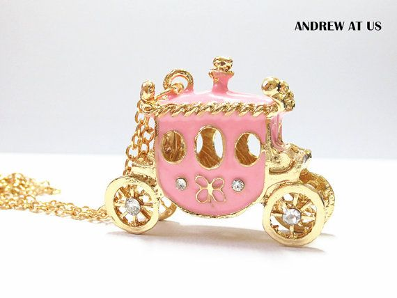Fairy tale Princess Pink Carriage Gold Pendant by BoutiqueDeAndrew