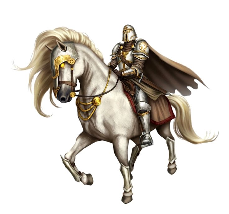 Male Human Cavalier Knight in Armor on Enchanted White Horse - Pathfinder PFRPG DND D&D 3.5 5th ed d20 fantasy