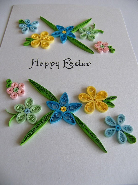 Quilled Happy Easter greeting card by vaidaaa on Etsy, $8.00