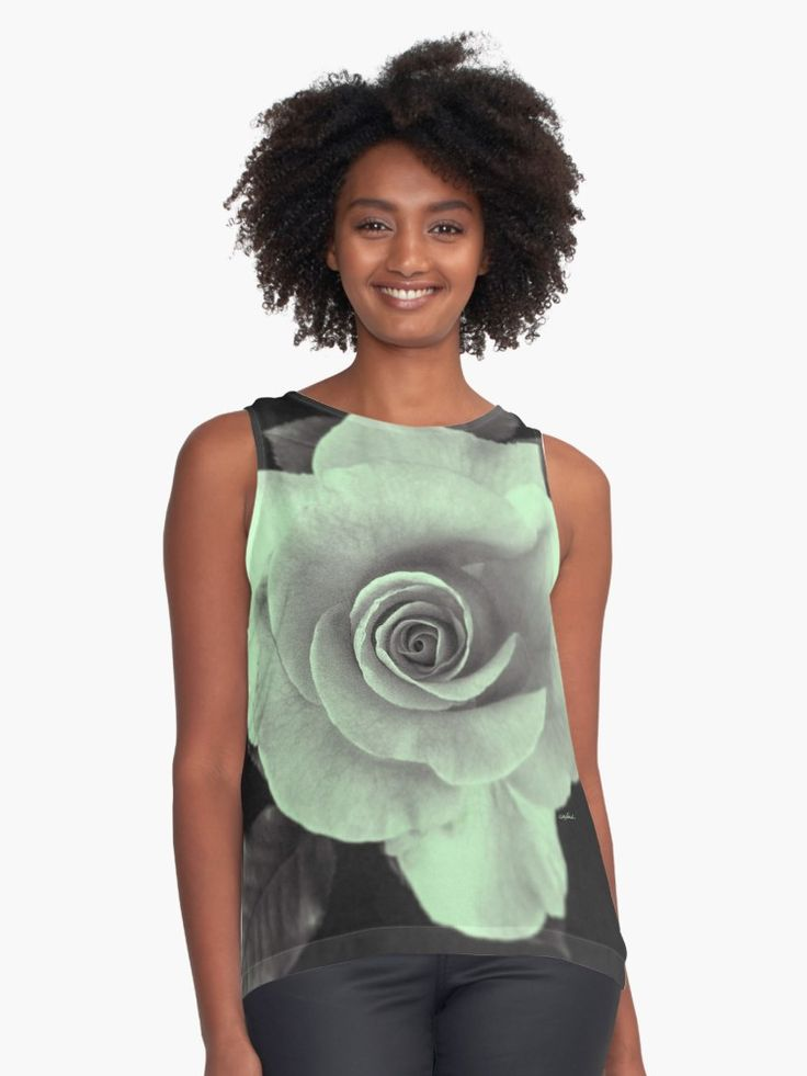 """Rose With a Touch of Lime"" Contrast Tank by PolkaDotStudio 