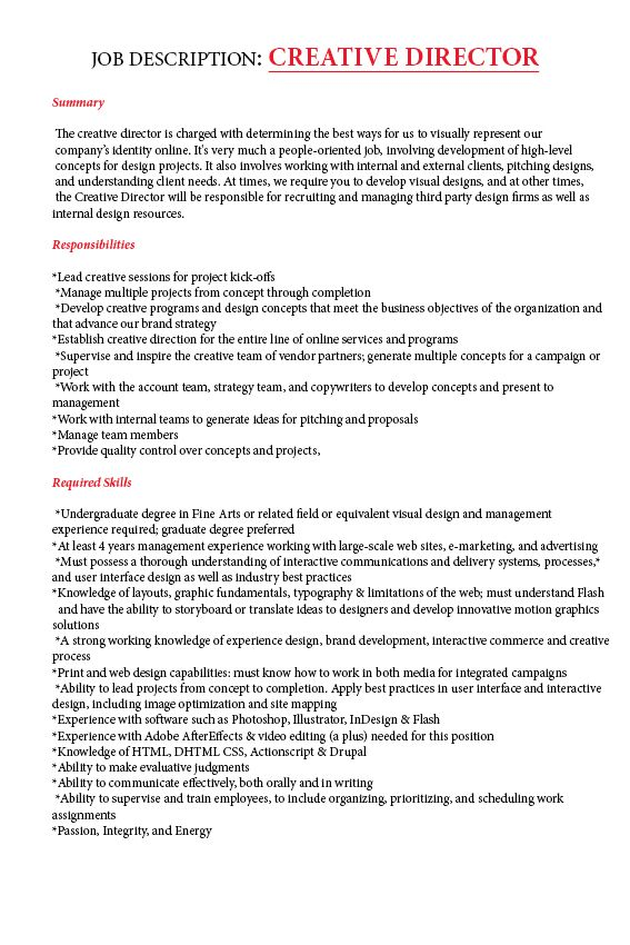 JOB DESCRIPTION CREATIVE DIRECTOR DP Développement perso - art director job description