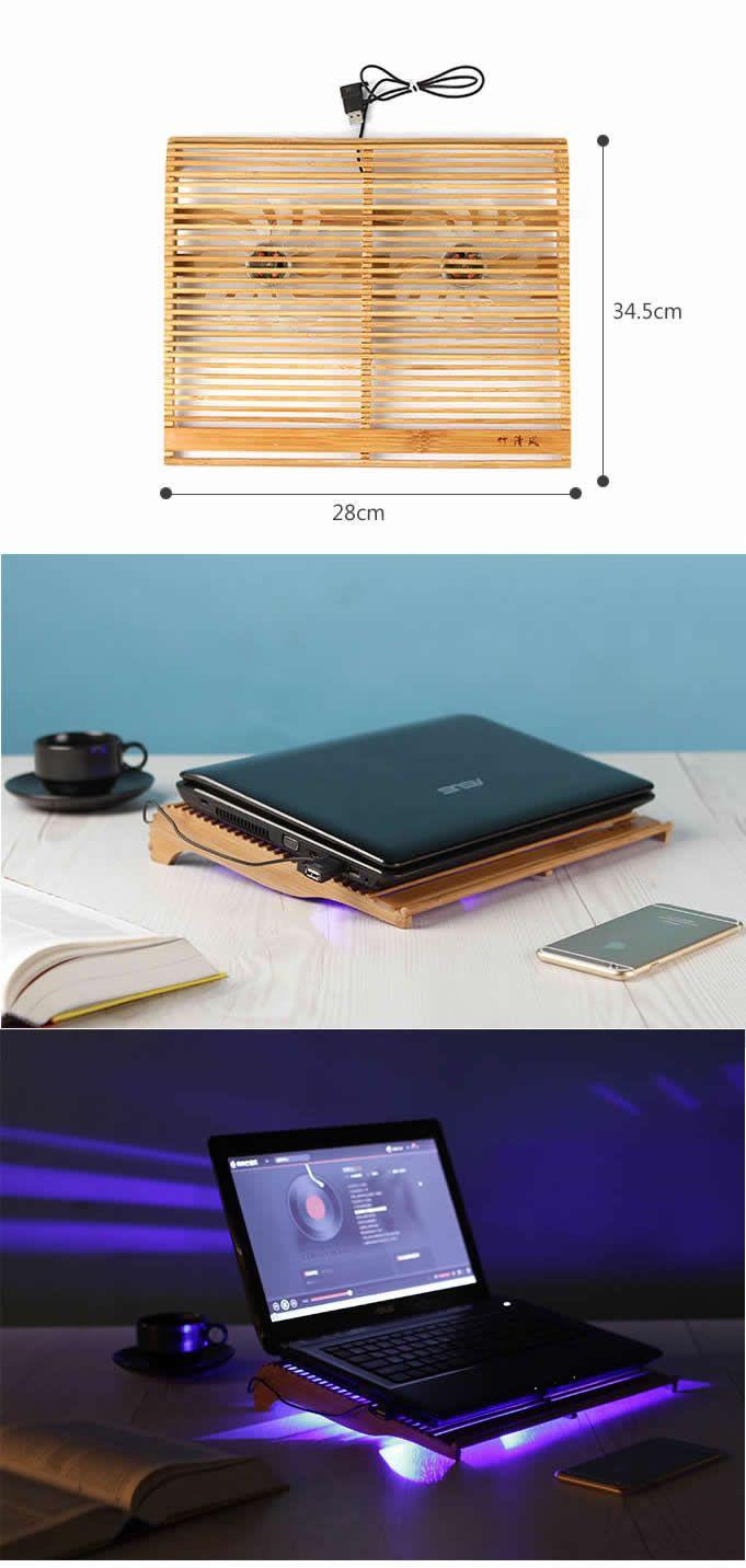 Creative Dual Fan Latop Cooling Bamboo Pad