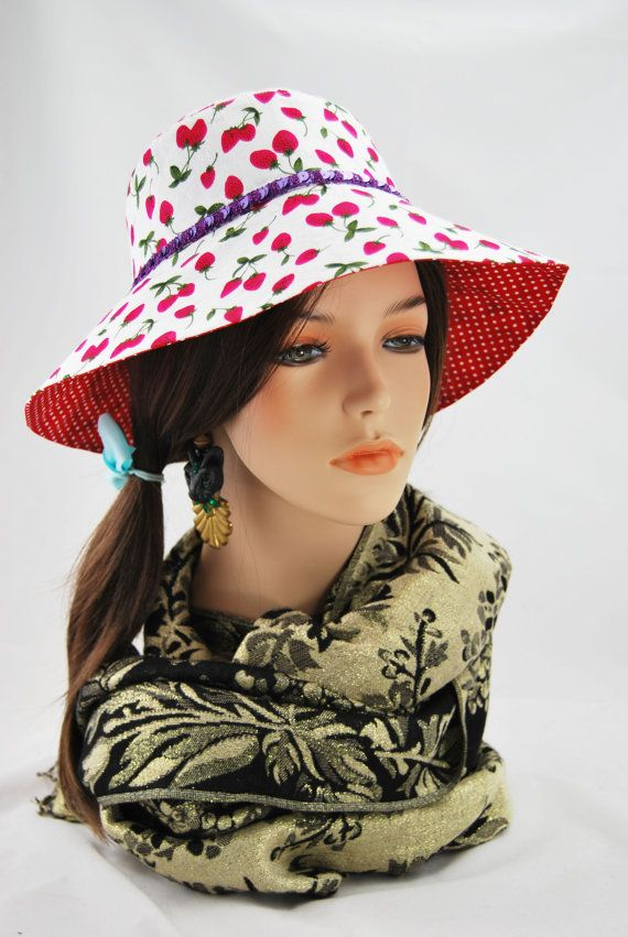 Your daughter, granddaughter or niece will absolutely love this beautiful Strawberry cotton Sunhat with its funky Purple Sequin band. Lined with