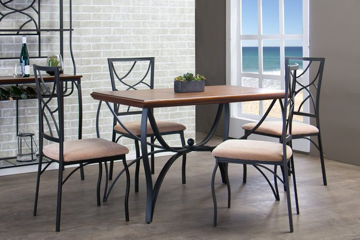 Baxton Studio Valletta Wood and Metal 5-Piece Transitional Dining Set   Affordable Modern Furniture in Chicago