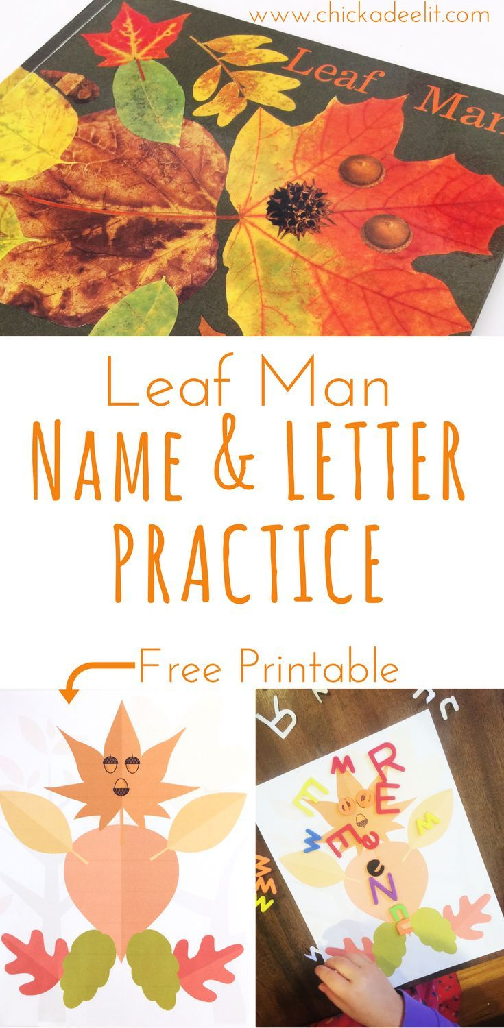 "This is a fun way for kids to learn about the alphabet or the letters in their name. It's based on the children's book ""Leaf Man,"" which is a fantastic book for fall, and comes with a free printable. Save it for later!"