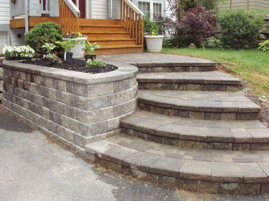 renovated house entrance way new retaining wall walkway on retaining wall id=68348