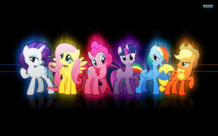 "The ""Mane"" 6 characters in the show. Left to Right: Rarity, Fluttershy, Pinkie Pie, Twilight Sparkle, Rainbow Dash, and Applejack."