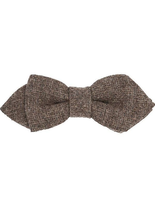 Pointed solid brown wool bow tie - Rosi Collection