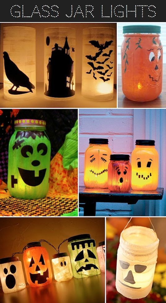 16 Easy But Awesome Homemade Halloween Decorations - I like the glass jars - with tissue and bats and haunted house