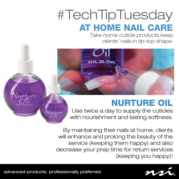 It's #TechTipTuesday! Teach your clients the importance of at home cuticle care with NSI Nails Cuticle Oil.
