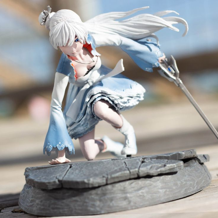"Fully assembled with sword, figure measures 3.5"" high, 5.75"" long and 3.875"" wide.  Weiss' body measures 3"" high. Figure has 3 points of articulation in the nec"