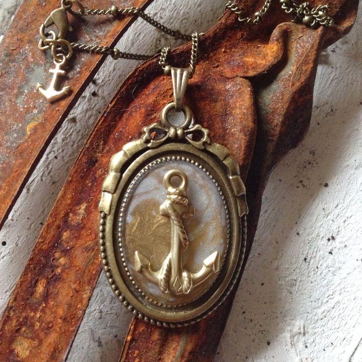 Anker Ankerkette silber hellblau gold, Amulett 37x26 von djangosbaby auf Etsy